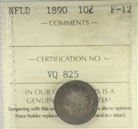 1890 Newfoundland 10-cents ICCS Certified F-12