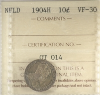 1904H Newfoundland 10-cents ICCS Certified VF-30