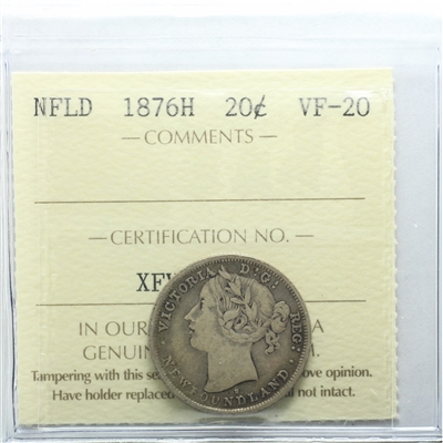 1876H Newfoundland 20-cents ICCS Certified VF-20