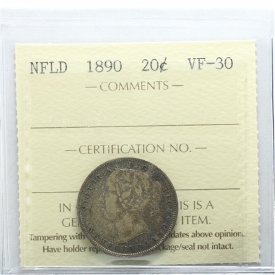 1890 Newfoundland 20-cents ICCS Certified VF-30
