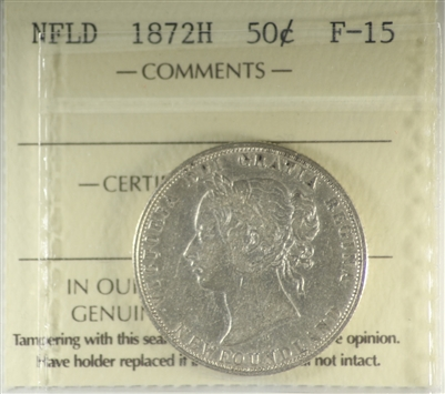 1872 Newfoundland 50-cents ICCS Certified F-15