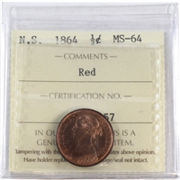 1864 Nova Scotia 1/2 Cent ICCS Certified MS-64 Red (XCP 057)