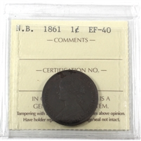 1861 New Brunswick 1-cent ICCS Certified EF-40