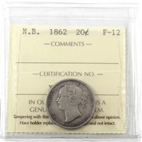 1862 New Brunswick 20-cents ICCS Certified F-12