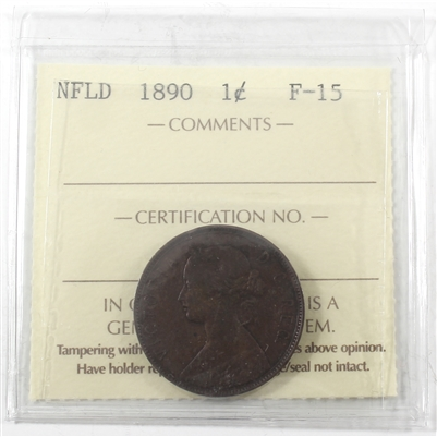 1890 Newfoundland 1-cent ICCS Certified F-15