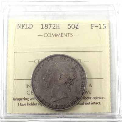1872H Newfoundland 50-cents F-15
