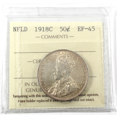 1918C Newfoundland 50-cents ICCS Certified EF-45