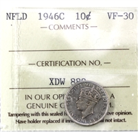 1946C Newfoundland 10-cents ICCS Certified VF-30