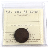 1864 Nova Scotia 1/2 Cent ICCS Certified AU-50