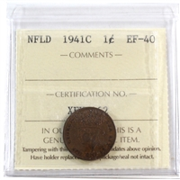 1941C Newfoundland 1-Cent ICCS Certified EF-40 Re-engraved