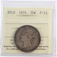1874 Newfoundland 50-Cents ICCS Certified F-12