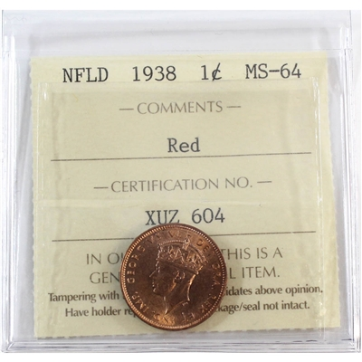 1938 Newfoundland 1-Cent ICCS Certified MS-64 Red