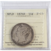 1876H Newfoundland 50-Cents ICCS Certified F-15