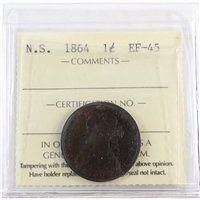 1864 Nova Scotia 1-Cent ICCS Certified EF-45