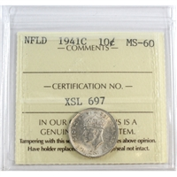 1941C Newfoundland 10-Cents ICCS Certified MS-60 (XSL 697)