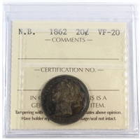 1862 New Brunswick 20-Cents ICCS Certified VF-20 (NI 058)