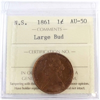1861 Large Bud Nova Scotia 1-Cent ICCS Certified AU-50