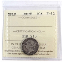 1882H Newfoundland 10-Cents ICCS Certified F-12