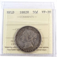 1882H Newfoundland 50-Cents ICCS Certified VF-20