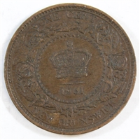 1861 New Brunswick 1 Cent EF-AU (EF-45)