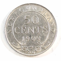 1909 Newfoundland 50 Cents Almost Uncirculated (AU-50)
