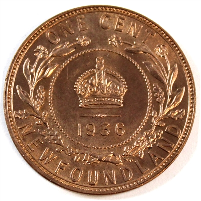 1936 Newfoundland 1 Cent Choice Brilliant Uncirculated (MS-64) $