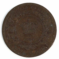 1861 Nova Scotia 1/2 Cent G-VG (G-6)