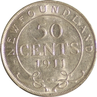 1911 Newfoundland 50 Cents Almost Uncirculated (AU-50)