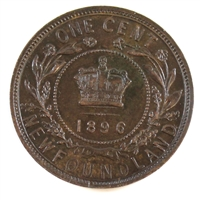 1896 Newfoundland 1 Cent Almost Uncirculated (AU-50) $