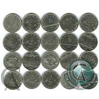 20x 1968-1986 Canadian Nickel Dollars - at least 15 different dates (Mega31)