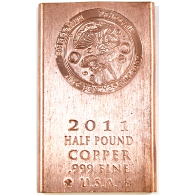 1/2 Pound .999 Fine Copper Bar (Shroomin). No Tax
