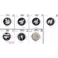 Group Lot of 1995-2002 Canada Commemorative Silver 50-Cents, PR or SP, 7Pcs (Impaired)