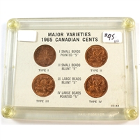 1965 Canada 1-Cents with Major Varieties in Acrylic Case
