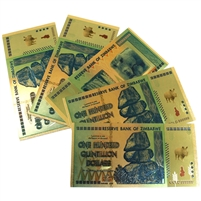 5x Zimbabwe One Hundred Quintillion Dollar Replica Foil Notes, 5Pcs