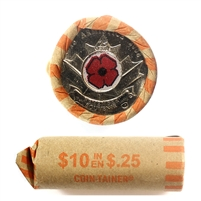 2008 Canada 25-Cent Coloured Poppy Roll of 40Pcs, Average to Circulated Condition