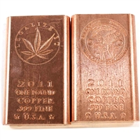 Pair of One Pound .999 Fine Copper Bars (Shroomin + Legalize It) No Tax