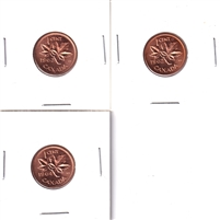 1962, 1963 & 1964 Hanging Varieties 1-cents. Coins are mint state (some toned). 3pcs