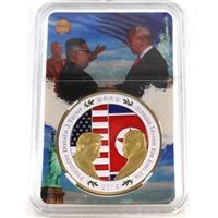 2018 Trump & Kim John-Un Peace Talks Gold Plated Coloured Medallion