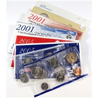 Group Lot of 1980-2005 USA Uncirculated Sets, Both P & D. 6Pcs. Impaired.