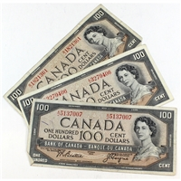 Lot of 3x 1954 Canada $100 Notes with 3 Different Signature Combinations. 3pcs