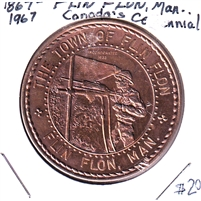 1867-1967 Canada Centennial Flin Flon Manitoba Souvenir Coin - Copper Coloured