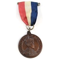1937 Edward VIII Coronation Medal with Original Ribbon - Bronze Colour