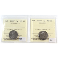 Pair of 2002P & 2003P Canada 5-Cents ICCS Certified MS-65, 2Pcs