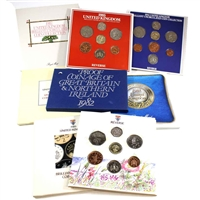 Group Lot of 1982-1989 United Kingdom Proof and Brilliant Uncirculated Sets. 7Pcs.