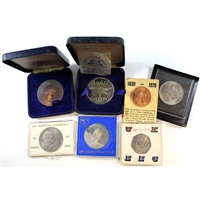 Group Lot of 1965-1980 GB Commemorative Coins Featuring People & Places. 7Pcs.