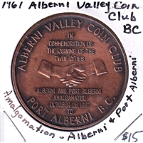 1967 Canada Alberni Valley Coin Club Amalgamation Medallion