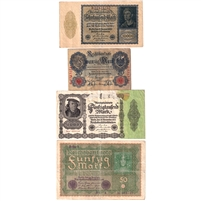 Lot of 1910-1922 Germany Notes, 20 to 50,000 Mark, VG to VF-EF, 4Pcs (damaged)