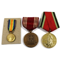 Group Lot of Assorted Medals and Mini Medals, 3Pcs