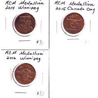 Group Lot of 3x 2014-2016 Copper RCM Medallions, 3Pcs