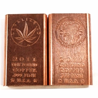 Pair of 1 Pound Pure Copper Bars - Legalize It & Shroomin (No Tax)